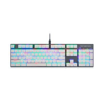 Motospeed CK94 White Wired Mechanical Keyboard RGB Kailh Sort White Switch US Layout