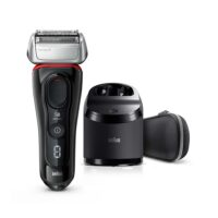 Braun Series 8 8380cc Wet & Dry shaver with Clean & Charge station and travel case, black / red (8380CC)