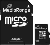 MediaRange Micro SDHC Class 10 With SD Adaptor 16 GB (High Capacity) (MR958)