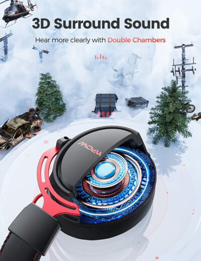 MPOW gaming headset AIR, wireless & wired, 50mm, mic, μαύρο-κόκκινο